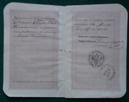 Antique Signed Imperial Russian Passport Duke of Sasso 1878 Prince Dolgorukov